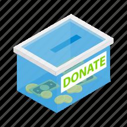 box, charity, donate, donation, gift, help, isometric icon