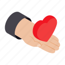 day, gift, hand, heart, isometric, romantic, shape icon