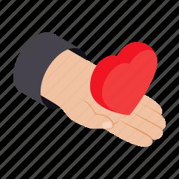 day, gift, hand, heart, isometric, romantic, shape icon