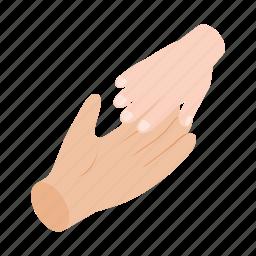 big, child, hand, help, isometric, parent, small icon
