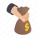 bag, bank, hand, holding, isometric, money, savings icon