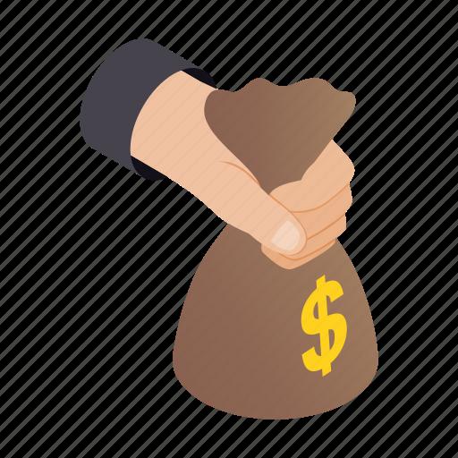 bag, bank, hand, holding, isometric, money, savings icon