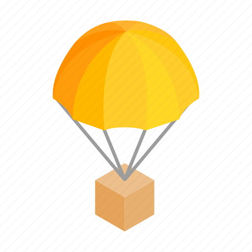 box, crate, delivery, gift, isometric, parachute, travel icon
