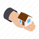 building, business, concept, hand, home, isometric, property