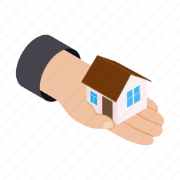 building, business, concept, hand, home, isometric, property icon