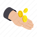 bank, coin, hand, holding, isometric, money, savings icon