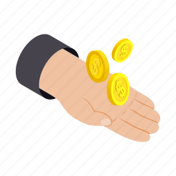 bank, coin, hand, holding, isometric, money, savings icon