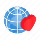 conceptual, globe, heart, isometric, kindness, love, world icon