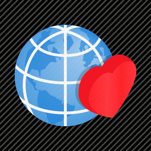 conceptual, globe, heart, isometric, kindness, love, world icon