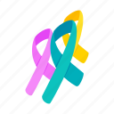 awareness, breast, cancer, care, help, isometric, ribbon icon