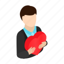 affection, big, boy, heart, isometric, man, showing icon