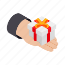 box, crm, gift, giftbox, hand, isometric, parcel icon