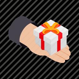 box, crm, gift, giftbox, hand, isometric, parcel icon