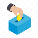 background, bank, coin, gold, hand, isometric, moneybox icon