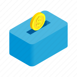 background, bank, coin, gold, isometric, money, moneybox icon