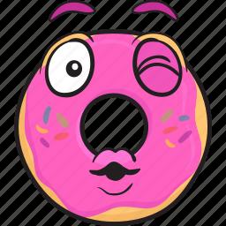 bakery, cartoon, donut, doughnut, emoji, smiley icon