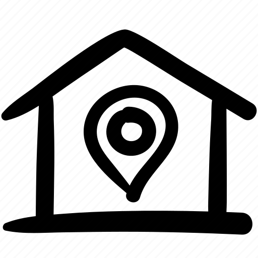 doodle, general, home, home position, house, location, position icon