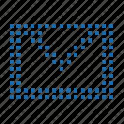 file, inbox, lattice, mail, matrix, pixel, post, send, write a letter icon