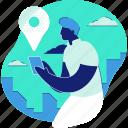 location, navigation, pin, marker, man