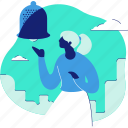 bell, notification, ring, audio, sound, woman