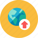 globe, upload icon