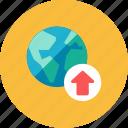 globe, upload