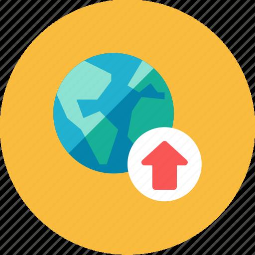 globe, upload icon
