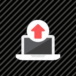laptop, upload icon