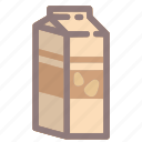 milk, box, healthy, almond, drink, beverage icon