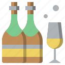 alcohol, alcoholic, beverage, bottle, champagne, drink, glass icon