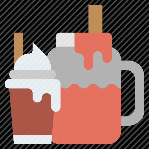 beverage, cream, glass, ice, refreshment, smoothie, straw icon