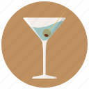 alcohol, bar, cocktail, drink, glass, martini, olive icon
