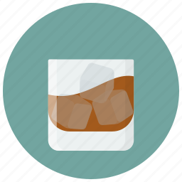 alcohol, drink, glass, ice cubes, rum, whiskey, whisky icon