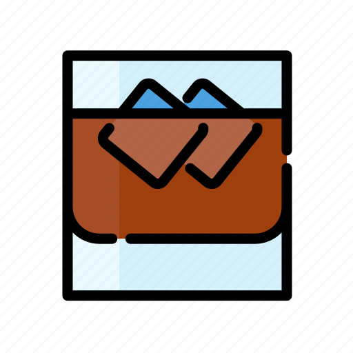 alcohol, beverage, drink, glass, ice, water, whiskey icon