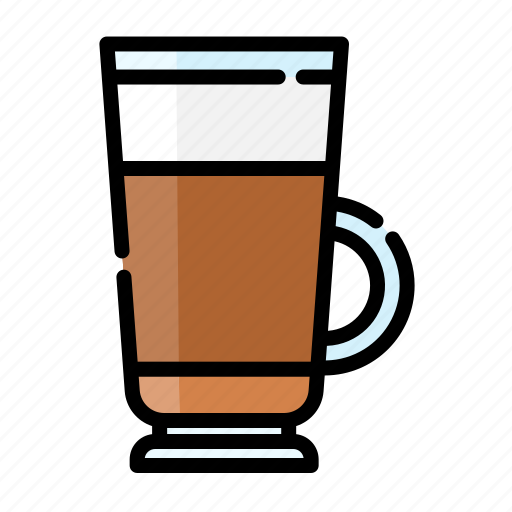 beverage, coffee, cup, drink, glass, latte icon