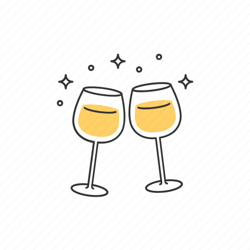 celebration, champagne, cheers, drinks, glasses, party, wine icon