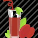 berry, drinks, fruit, glass, juice, tubular icon