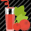 berry, cerrant, drinks, glass, juice, tubular icon