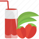 coctails, drinks, glass, strawberry, tubular icon