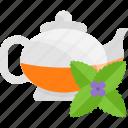 drinks, flower, kettle, mint icon