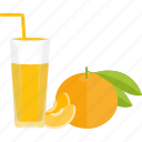 drinks, fruit, glass, juice, orange icon
