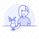 3, alcohol, bar, client, cocktail, drink, female, glass, holding, pub, punch, tavern, tulip, umbrella, with icon