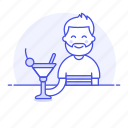 client, alcohol, glass, straw, male, pub, tavern, bar, cocktail, half, cherry, drink, martini, holding