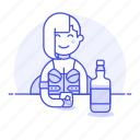 alcohol, drink, bar, rocks, client, holding, bottle, half, female, glass, ice, on, whiskey, the, hand