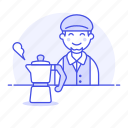 cafe, moka, espresso, drinks, cafeteria, stovetop, maker, barista, male, shop, half, coffee, pot