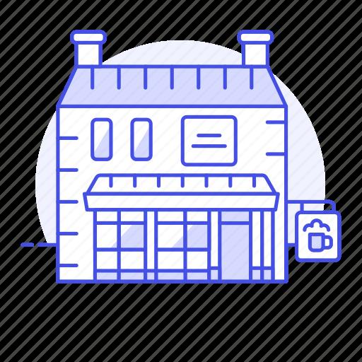 alcohol, ale, bar, beer, beverages, building, drink, pub, tavern icon