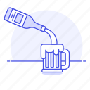 ale, bar, beer, bottle, drink, galcohol, jar, pour, pourin, serving icon