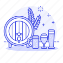 alcohol, and, bar, barrel, beer, drink, glass, jar, long, spike, tulip, wheat icon