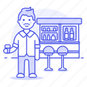 bar, beer, bottles, client, club, counter, drink, full, glass, holding, lalcohol, male, pub, stool, tavern