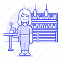 3, alcohol, bar, beer, bottles, client, club, counter, drink, female, glass, holding, pub, stool, tavern icon